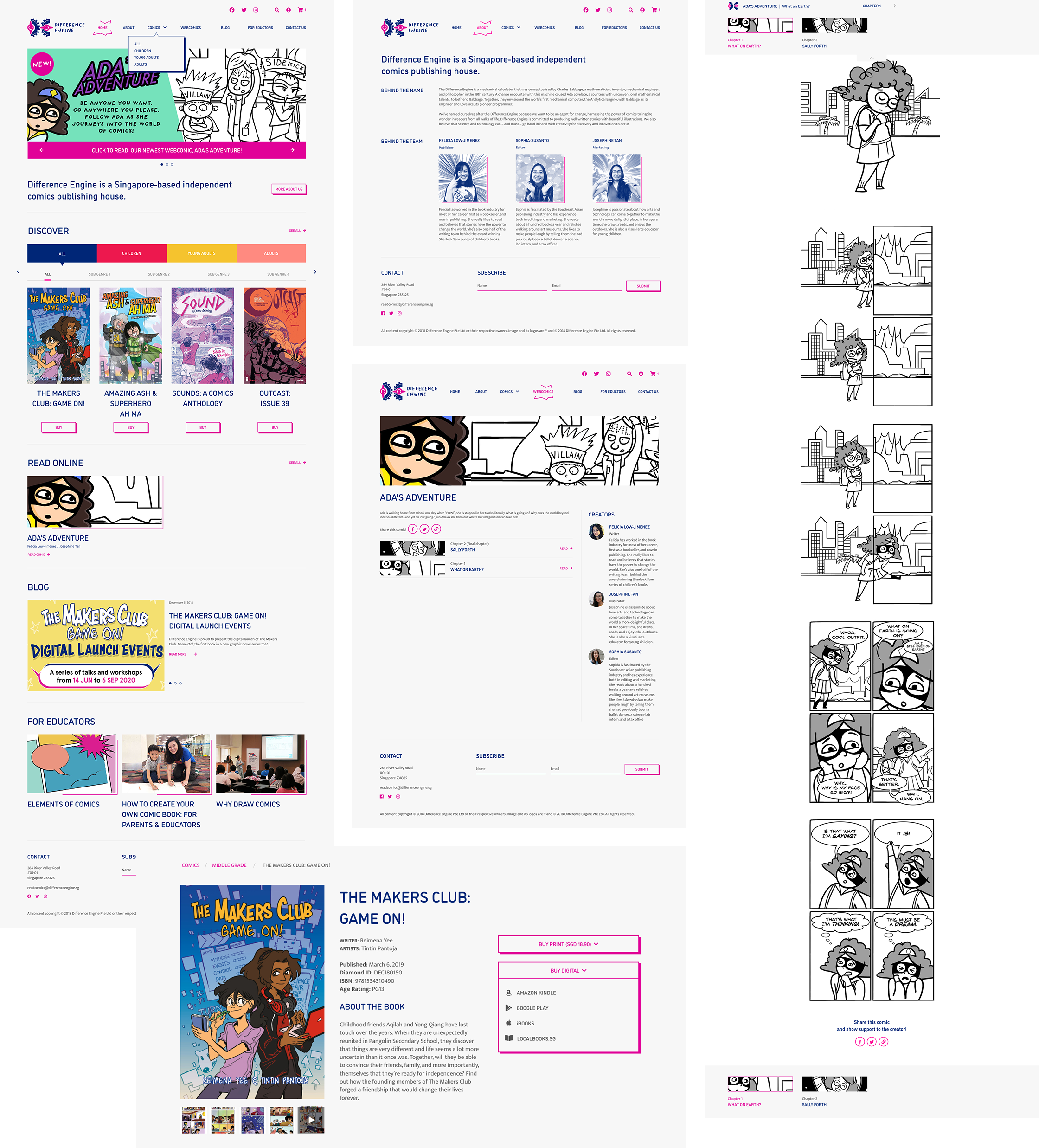The speech bubble inspired dropdown menu and the three dimensional effect that is applied to the website's primary buttons give the website a straight-out-of-comic-book feel. A pop of magenta from the brand's core colours also helps to emphasize the call-to-actions.