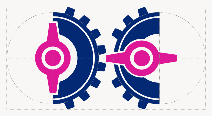 The new logo was designed to be much more symmetrical. The teeth of the gear were also made bigger for visibility.